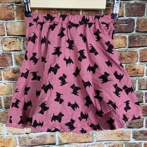 Girls Handmade Black & Red Scottie Dog Skirt 5/6